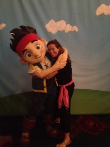 Yeah, I think I looked much cuter meeting Jake from Jake and the Neverland Pirates, who gives one great hug!