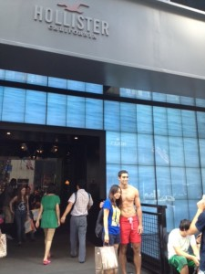 The Hollister store in NYC and nice greeter at the door