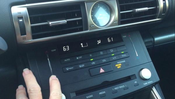 Lexus temperature swipe