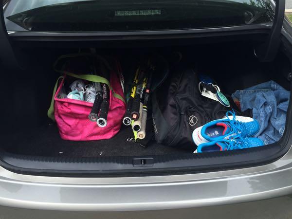 lexus trunk tennis gear