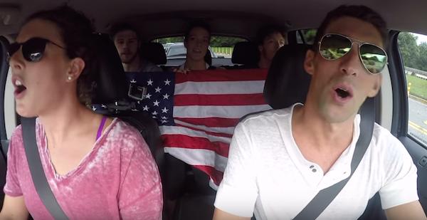 2016 Olympic Swimmers carpool karaoke