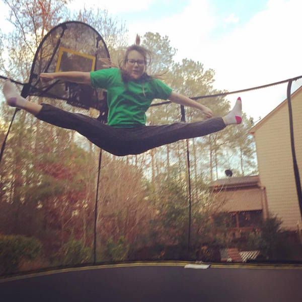 cheer jump on trampoline