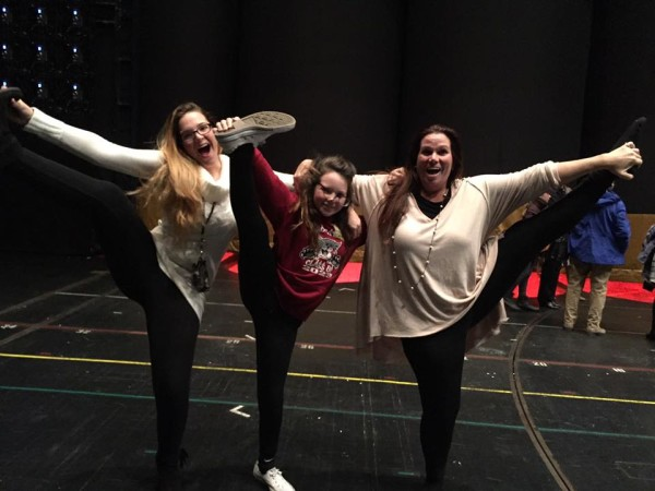 My daughters and I on stage (because, when else do you have the chance to stand on stage where the Rockettes perform each day?).