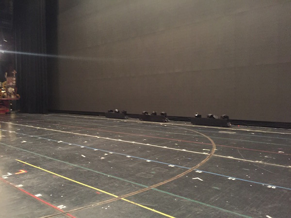 This is the floor of the stage, complete with markings for dancers.