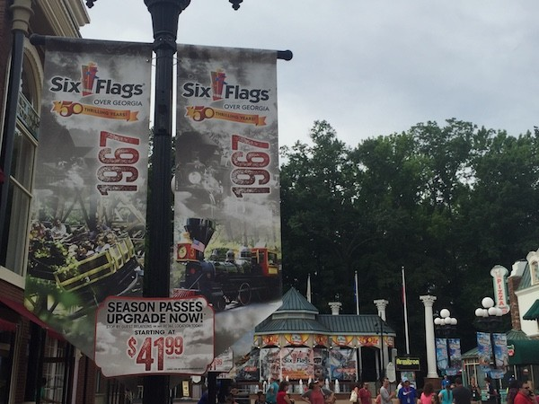 Six Flags over Georgia 50th Anniversary flags