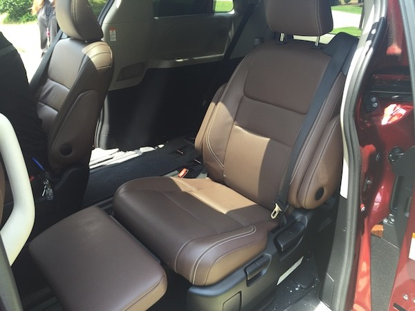 reclining seat with footrest in Toyota Sienna